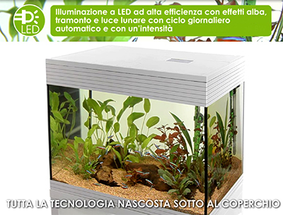 Askoll Acquario Pure LED M Absolute Black 36x36x43,5h cm 44Lt