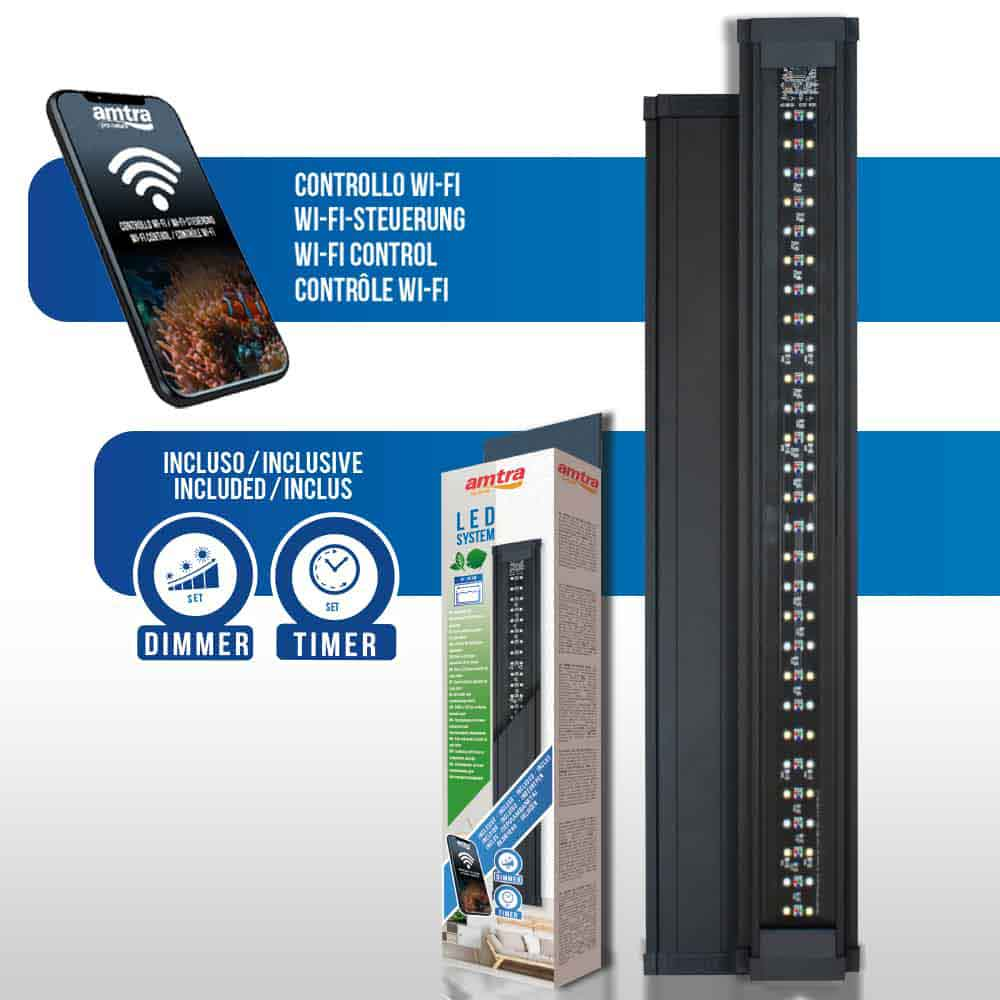 Amtra Led System Fresh Lampada a Led Regolabile con Dimmer e Timer inclusi 450mm 18W per vasche 40-60cm