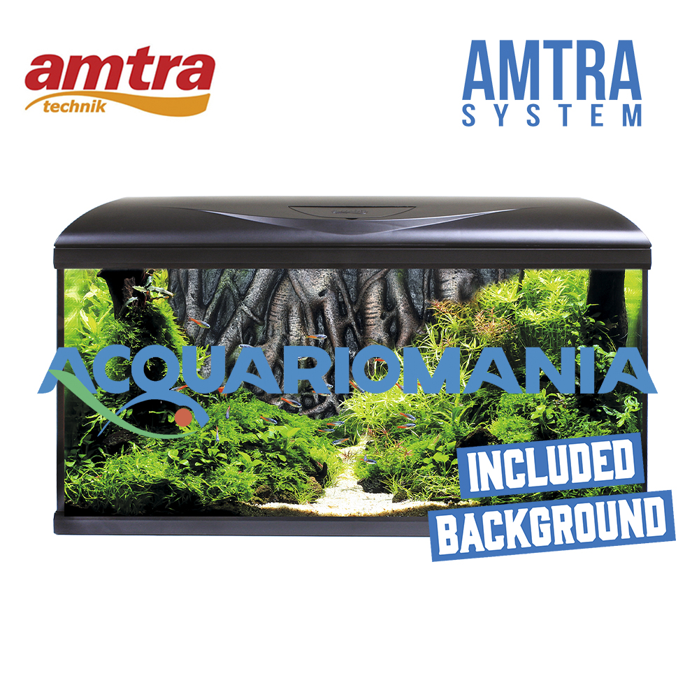 Amtra Acquario System 80 Background Root Led completo Nero 95lt 80X32X45h cm
