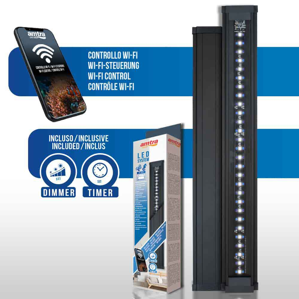 Amtra Led System Reef Lampada a Led Regolabile con Dimmer e Timer inclusi 450mm 18W per vasche 40-60cm